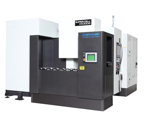 KITAMURA SUPERCELL-300G 5-AXIS HORIZONTAL MACHINING CELL ON DISPLAY IN IMTS BOOTH #339148